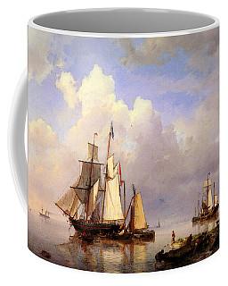 Koekkoek Hermanus Vessels At Anchor In Estuary With Fisherman Coffee Mug