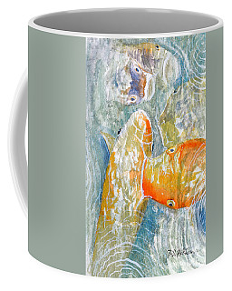 Coffee Mug featuring the painting Koi Carp Feeding Frenzy by Bill Holkham
