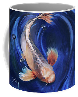 Coffee Mug featuring the painting Koi by Donna Tuten