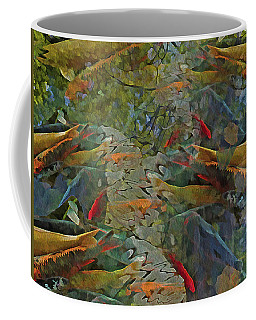 Coffee Mug featuring the mixed media Koi Pond With Reflections 9 by Lynda Lehmann