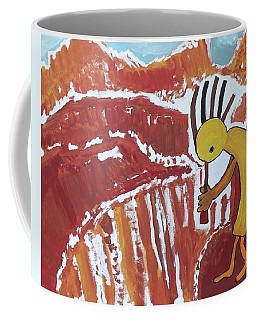 Coffee Mug featuring the painting Kokopelli Spring Snow by Don Koester