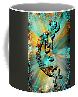 Kokopelli Turquoise And Gold Coffee Mug by Vicki Pelham