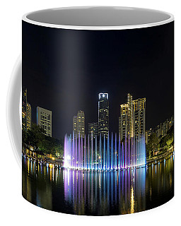 Kuala Lumpur City Skyline By Symphony Lake  At Night Coffee Mug