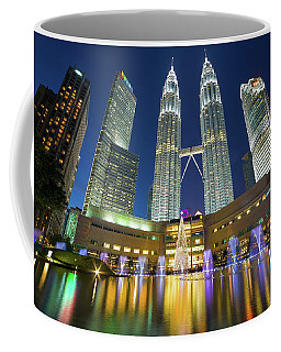 Kuala Lumpur Skyline By Symphony Lake At Night Coffee Mug