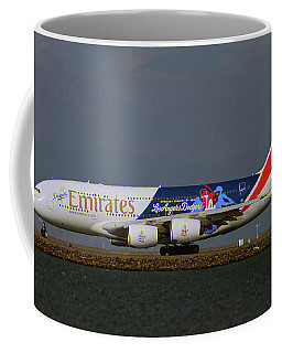 La Dodgers A380 Ready For Take-off At Sfo Coffee Mug