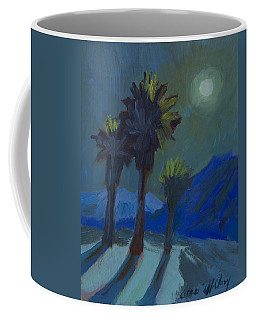 Coffee Mug featuring the painting La Quinta Cove And Moonlight by Diane McClary