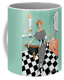 La Toilette -- Woman In Whimsical Art Deco Bathroom Coffee Mug