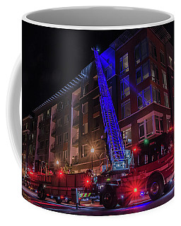 Ladder Truck Deployed At Night Coffee Mug