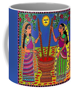 Ladies Crushing Chili Peppers Coffee Mug by Latha Gokuldas Panicker