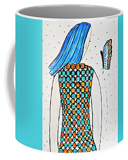 Lady And Butterfly Coffee Mug