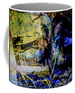 Lady At The Beach Through The Frozen Falls Coffee Mug