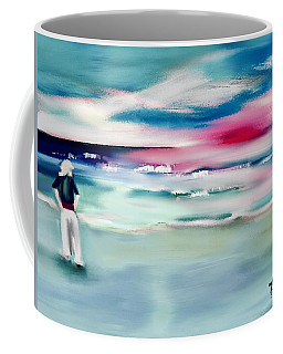 Coffee Mug featuring the digital art Lady By The Sea by Frank Bright