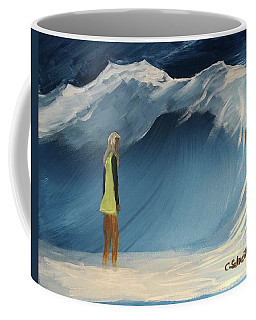 Lady Faces The Wave Coffee Mug