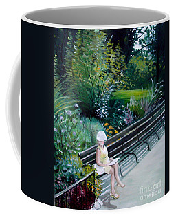 Coffee Mug featuring the painting Lady In Central Park by Elizabeth Robinette Tyndall