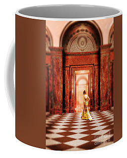 Lady In Golden Gown Walking Through Doorway Coffee Mug