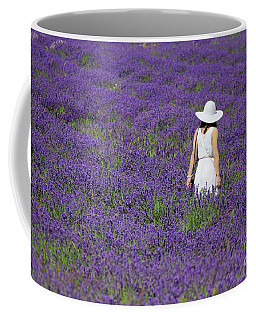 Lady In Lavender Field Coffee Mug