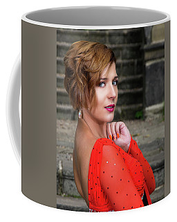 Coffee Mug featuring the photograph Lady In Red by Ian Thompson
