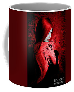 Coffee Mug featuring the digital art Lady In Red by Rafael Salazar