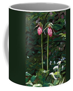 Coffee Mug featuring the painting Lady Slipper by Lynne Reichhart