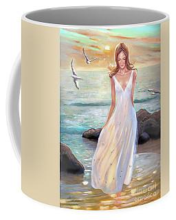 Lady Walking On The Beach Coffee Mug