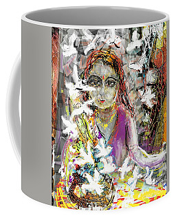 Lady With Birds Coffee Mug