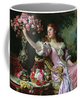 Lady With Flowers Coffee Mug