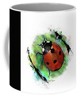 Coffee Mug featuring the drawing Ladybug Drawing by John Dyess