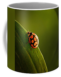 Ladybug  On Green Leaf Coffee Mug
