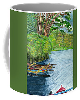 Coffee Mug featuring the painting Lake Bratan Boats Bali Indonesia by Melly Terpening