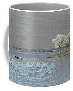 Coffee Mug featuring the digital art Lake Conroe View by Ellen Barron O'Reilly