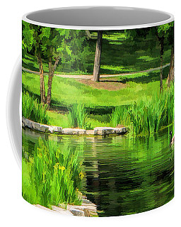 Coffee Mug featuring the painting Lake Ellyn Geese by Christopher Arndt