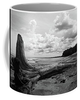 Coffee Mug featuring the photograph Lake Erie Shore Bw by Shawna Rowe