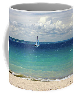 Coffee Mug featuring the photograph Lake Huron Sailboat by Meta Gatschenberger