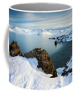 Lake Kleifarvatn Iceland In Winter Coffee Mug by Matthias Hauser