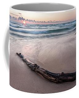 Coffee Mug featuring the photograph Lake Michigan Driftwood by Adam Romanowicz