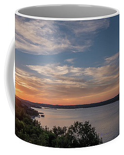 Lake Travis During Sunset With Clouds In The Sky Coffee Mug