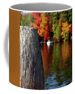 Lake Winnepesaukee Dock With Foliage In The Distance Coffee Mug