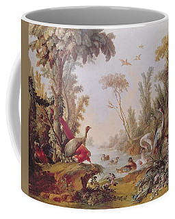 Lake With Geese Storks Parrots And Herons Coffee Mug