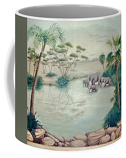 Lake With Oasis And Palm Trees Coffee Mug