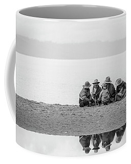 Coffee Mug featuring the photograph Lakeshore Discussion, Namtso, 2007 by Hitendra SINKAR