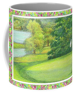 Lakeside Golfing Illustration Coffee Mug