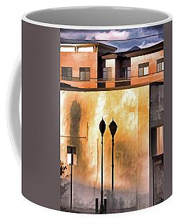 Lamp Post Shadow And Bent Sign Coffee Mug