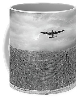 Coffee Mug featuring the photograph Lancaster Over The Derwent Dam Bw Version by Gary Eason