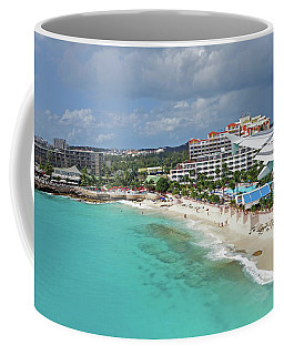 Landing Over Sunset Beach Saint Martin Caribbean Coffee Mug