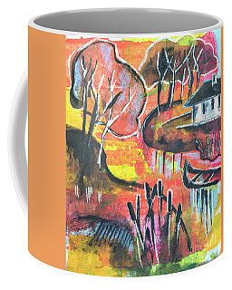 Coffee Mug featuring the mixed media Landscape Seasonal Illustration by Ariadna De Raadt