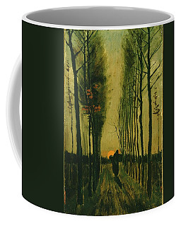 Coffee Mug featuring the painting Lane Of Poplars At Sunset by Van Gogh