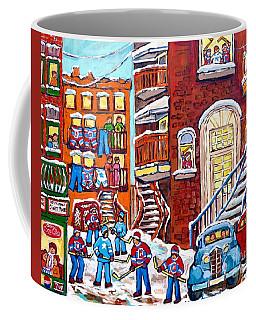 Laneway Hockey Denty Moore Diner Winter Staircase Montreal Memories Canadian Hockey Art C Spandau    Coffee Mug by Carole Spandau