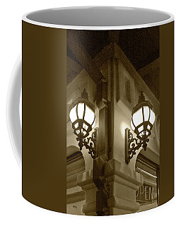 Coffee Mug featuring the photograph Lanterns - Night In The City - In Sepia by Ben and Raisa Gertsberg