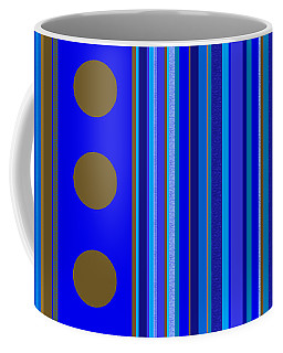 Coffee Mug featuring the digital art Large Blue Abstract - Panel Three by Val Arie
