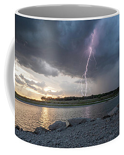 Coffee Mug featuring the photograph Large Lighting From Dark Clouds During Sunset At Large Lake by PorqueNo Studios